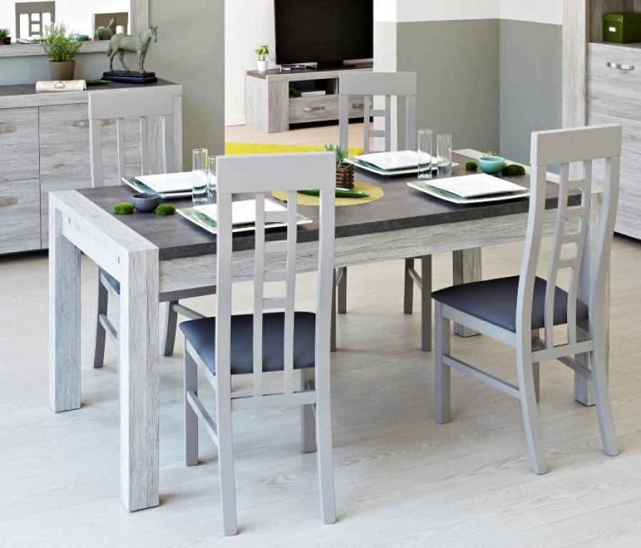 Malmo, Contemporary Extending Dining Table In Portofino Grey Oak And In Well Known Grey Dining Tables (View 12 of 20)