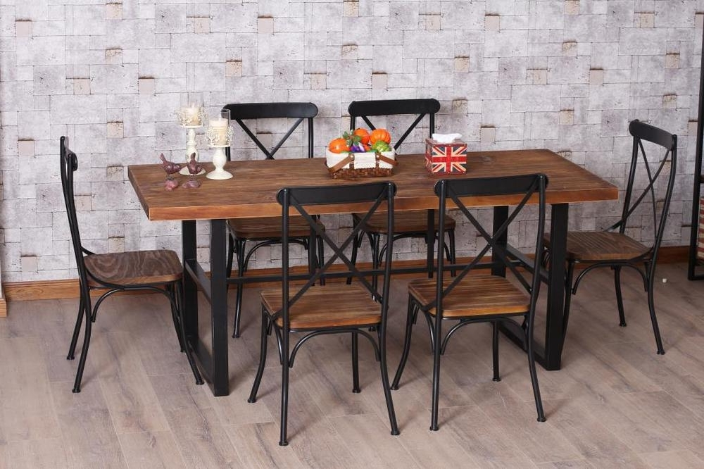 Mango Wood/iron Dining Tables Within Most Up To Date Brilliant Design Wood And Iron Dining Tables Dining Table – Textured (View 11 of 20)