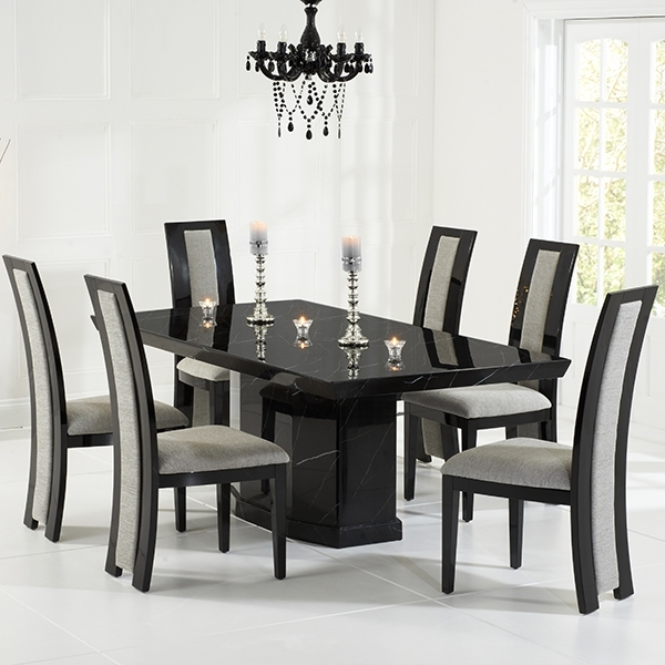 Marble Dining Chairs For Well Liked Kamila Black Marble Dining Table With 6 Chairs – Robson Furniture (View 7 of 20)
