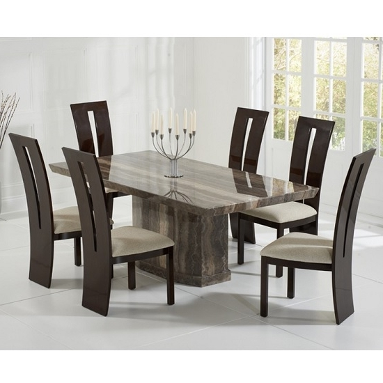Marble Dining Chairs Throughout Newest Hamlet Marble Dining Table In Brown And 6 Ophelia Cream (View 8 of 20)