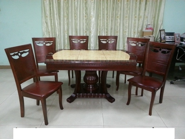 Marble Dining Chairs Within Most Popular 606/b28 Marble Dining Set 1+6 – Lorenz Furniture (View 10 of 20)
