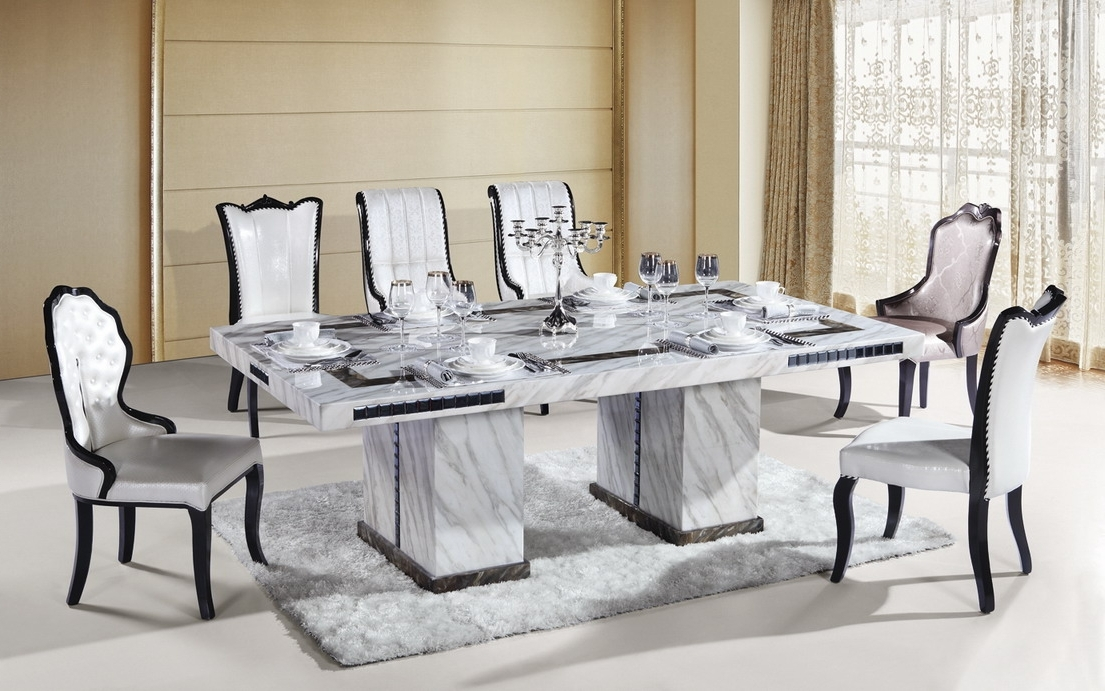 Marble Dining Furniture: Gives Exotic Look To Your Home With 2017 Marble Dining Tables Sets (View 11 of 20)