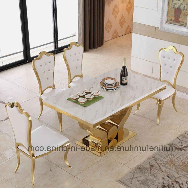 Marble Dining Tables Sets Pertaining To Widely Used China Modern Dining Room Furniture Stainless Steel Gold Marble (View 16 of 20)
