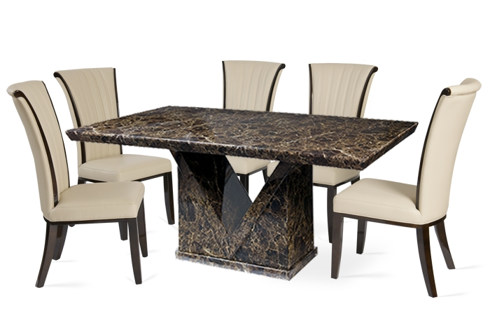 Marble Effect Dining Tables And Chairs In Well Known Minsk 160Cm Brown Marble Effect Dining Table With Almeria Chairs (View 6 of 20)