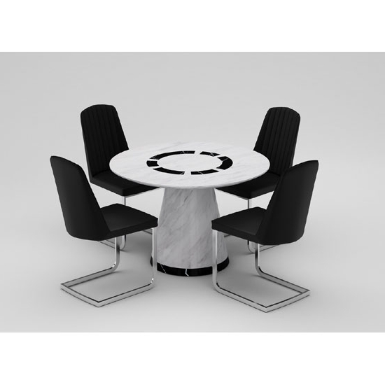 Marble Effect Dining Tables And Chairs Inside Most Current Sonati Marble Effect Circular Dining Table With 4 Bolza (View 9 of 20)
