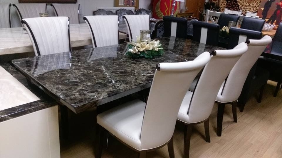 Marble Effect Dining Tables And Chairs With Best And Newest Mocha 220Cm Marble Dining Table And 6 Apine Cream Leather And Gloss (View 10 of 20)