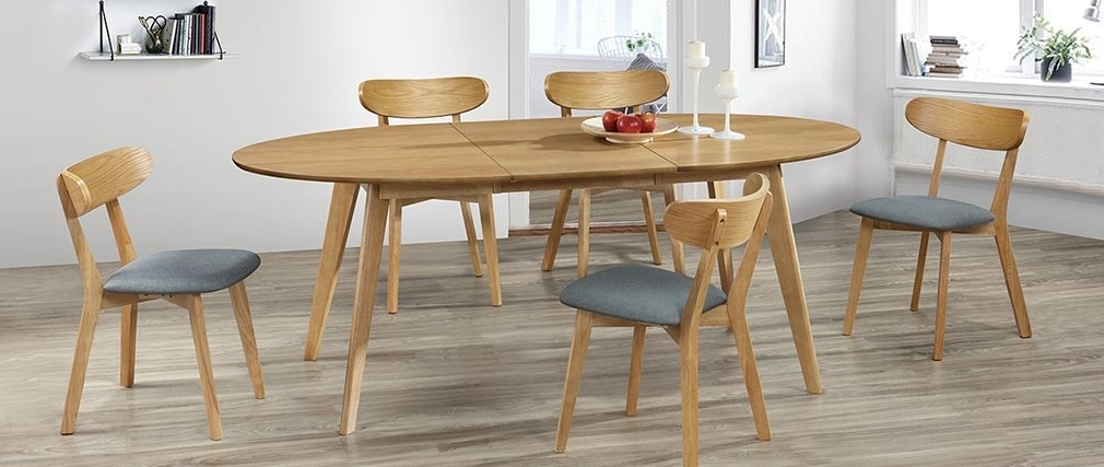 Marik Designer Extending Oak Dining Table – Miliboo In Most Recently Released Extending Oak Dining Tables (View 15 of 20)