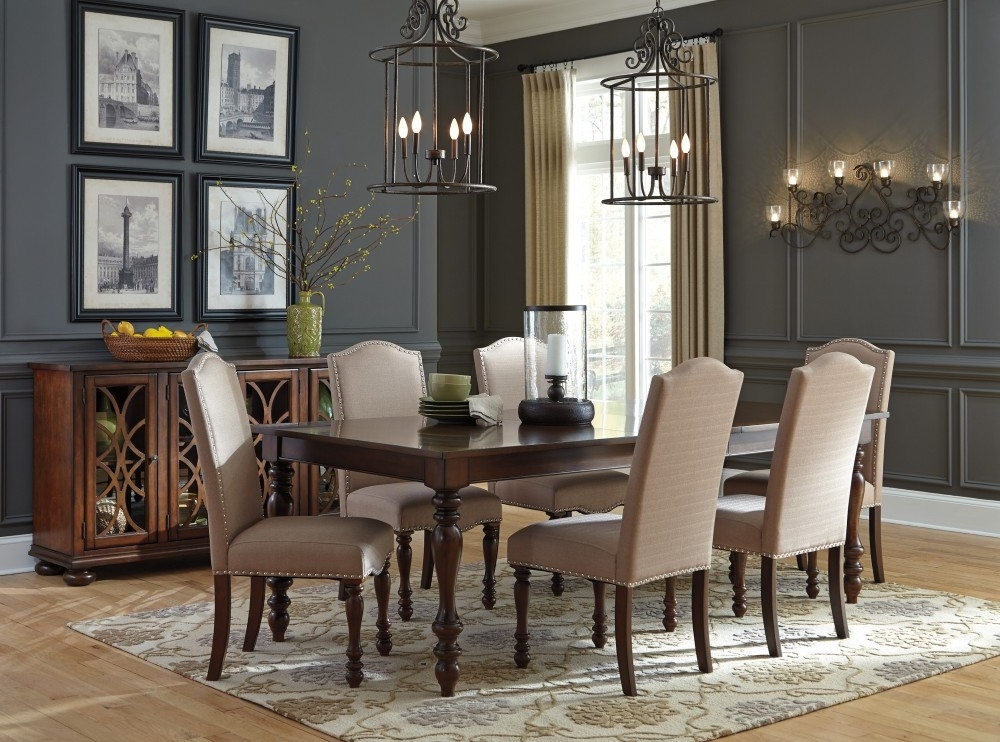Market 6 Piece Dining Sets With Side Chairs Intended For Fashionable Baxenburg Rect Dining Room Ext Table & 6 Uph Side Chairs (View 8 of 20)
