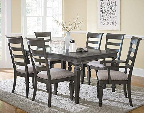 Market 7 Piece Dining Sets With Side Chairs In Preferred Harrison Smooth Grey Burnished Finish Trestle Table 7 Piece Dining (View 12 of 20)