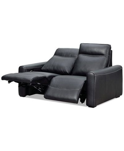 Marzia 60 Leather Loveseat With 2 Power Recliners, Created For Within Famous Marcus Oyster 6 Piece Sectionals With Power Headrest And Usb (View 10 of 15)