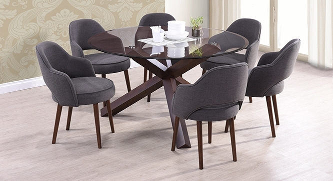 Matheson Nubica 6 Seater Round Glass Top Dining Table Pertaining To Well Liked 6 Seater Round Dining Tables (View 9 of 20)