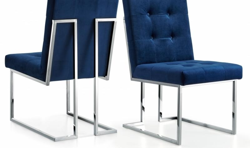 Meridian Furniture Alexis Modern Navy Velvet Chrome Legs Dining Within Trendy Ebay Dining Chairs (View 14 of 20)