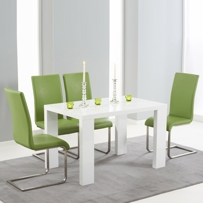 Metro High Gloss White 120Cm Dining Table With 4 Milan Green Chairs Regarding Best And Newest High Gloss White Dining Chairs (View 16 of 20)