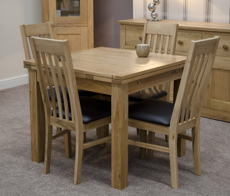 Millie Solid Oak Small Draw Leaf Extending Table With Chair Options Throughout Famous Small 4 Seater Dining Tables (View 5 of 20)