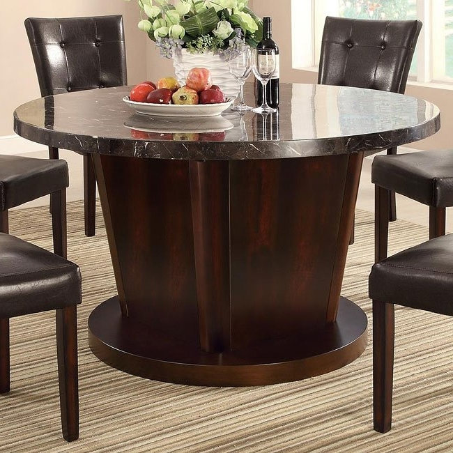 Milton Dining Tables Throughout Widely Used Milton Round Dining Table W/ Dark Marble Top Coaster Furniture (View 11 of 20)