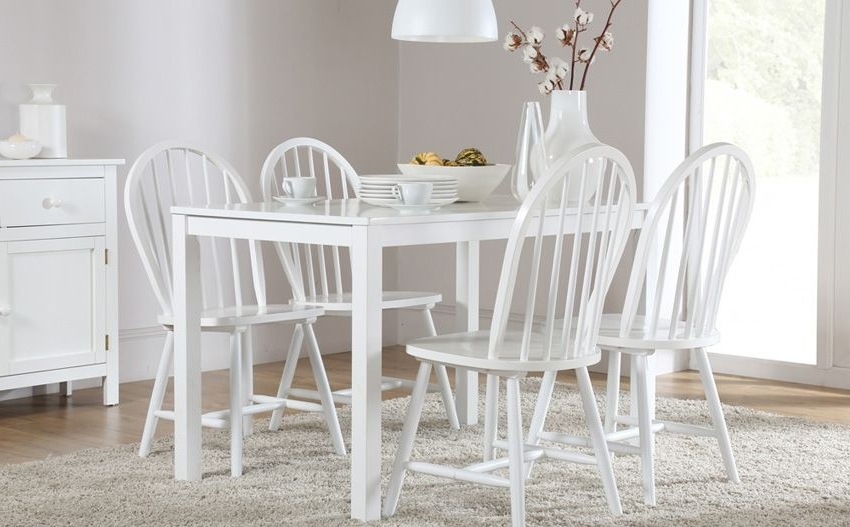 Milton White Dining Table And 4 Windsor Chairs Set Only £ (View 11 of 20)
