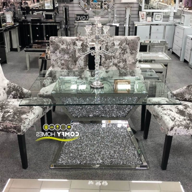 Mirrored Crushed Crystal Dining Table (Milano) Pertaining To Most Up To Date Crystal Dining Tables (View 12 of 20)