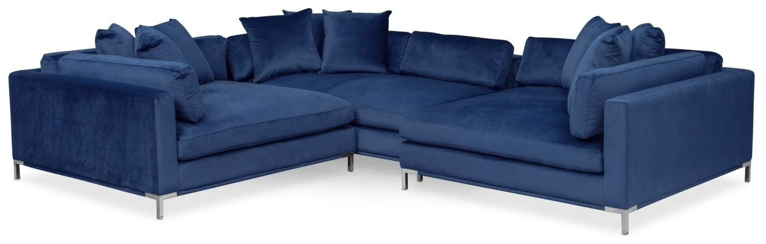 Moda 3 Piece Sectional With Right Facing Chaise – Blue (View 12 of 15)