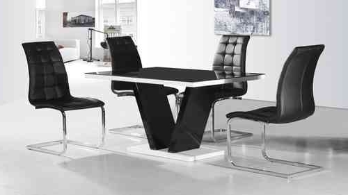 Modern Black Glass High Gloss Dining Table & 4 Chairs  Homegenies With Regard To Trendy Hi Gloss Dining Tables Sets (View 12 of 20)