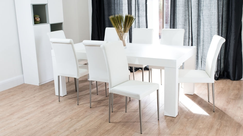 Modern Chunky White Oak Dining Table And Real Leather Chairs (View 9 of 20)