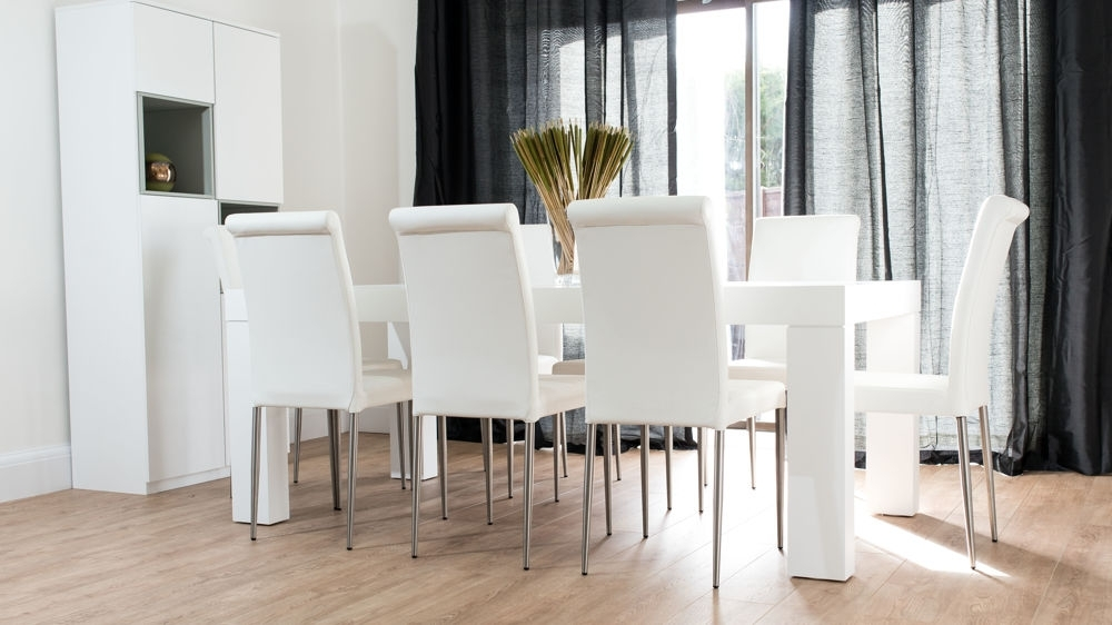 Modern Chunky White Oak Dining Table And Real Leather Chairs (View 6 of 20)