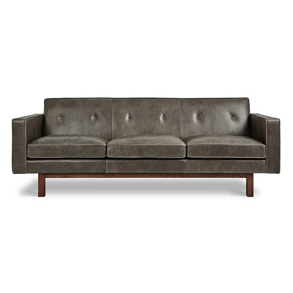 Modern & Contemporary Saddle Gray Leather Sofa (View 8 of 15)