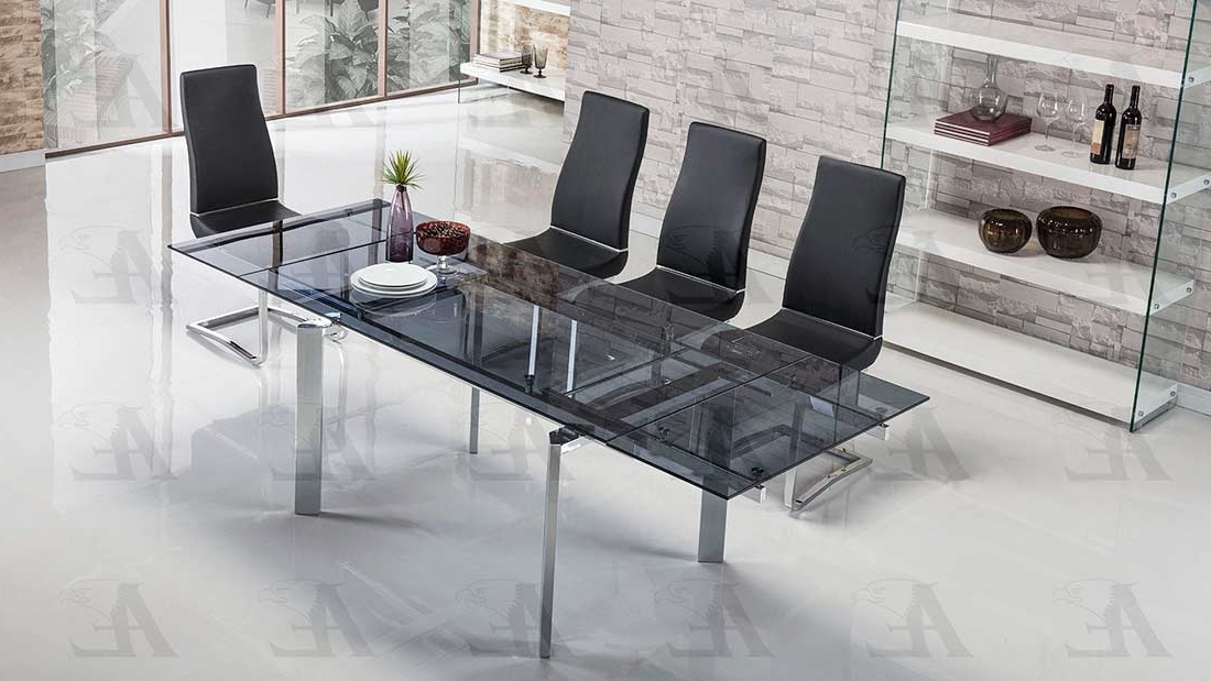 Modern Dining In Fashionable Smoked Glass Dining Tables And Chairs (View 9 of 20)