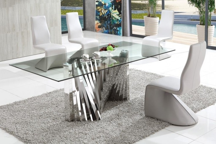 Modern Dining Tables Regarding Most Recently Released Plisset Italian Design Glass Dining Table With Armani Modern Dining (View 13 of 20)