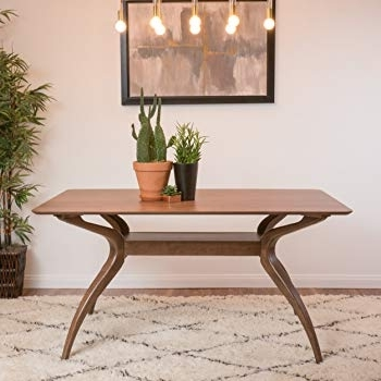 Modern Dining Tables Within Newest Amazon – Mabel Natural Walnut Finish Wood Mid Century Modern (View 15 of 20)
