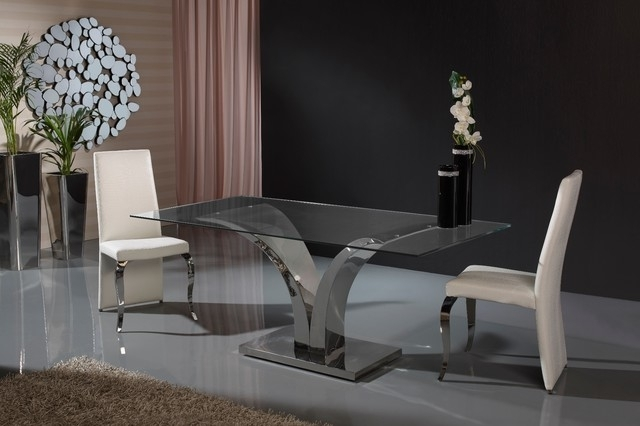 Modern V Shaped Base Glass Dining Table – Contemporary – Dining Intended For Most Recent London Dining Tables (View 11 of 20)