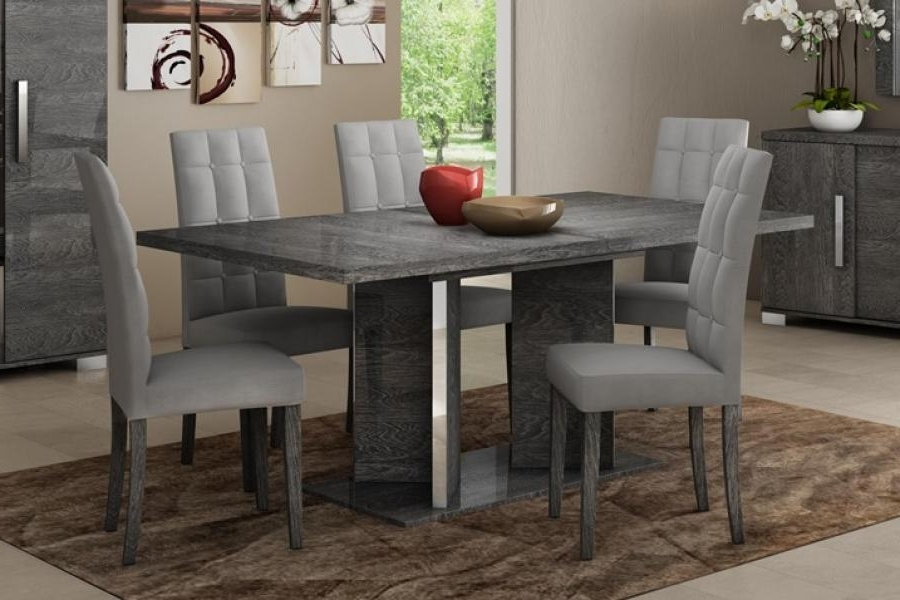 Modern Venicia Collection, Extending Dining Table In Grey Birch Look For Most Popular Extended Dining Tables And Chairs (View 11 of 20)