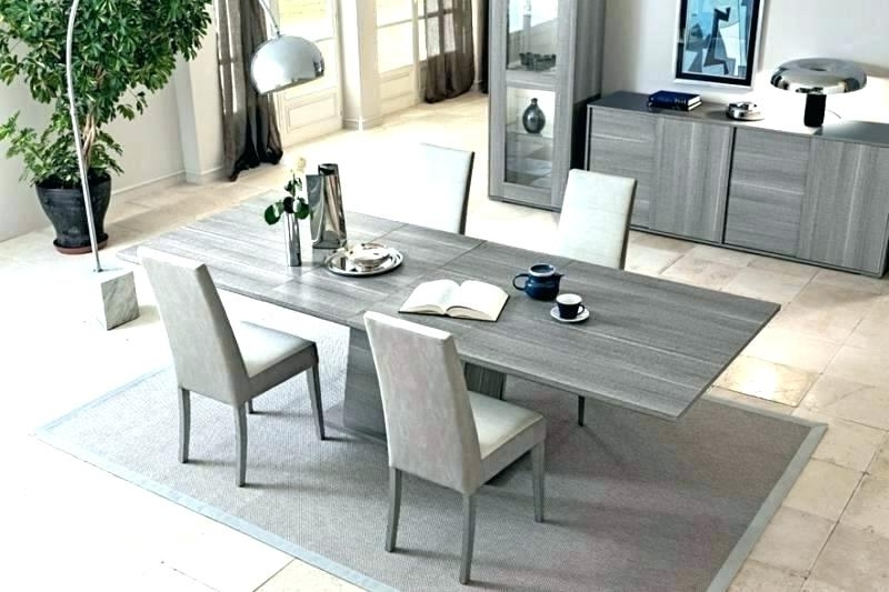 Modrest Lennon Modern Stone Grey Extendable Dining Table Set White Pertaining To Well Liked Extendable Dining Table Sets (View 14 of 20)