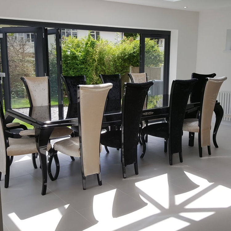 Monaco High Gloss 3m Bespoke Non Extending Dining Table : F D Intended For Most Current Black Gloss Dining Furniture (View 18 of 20)