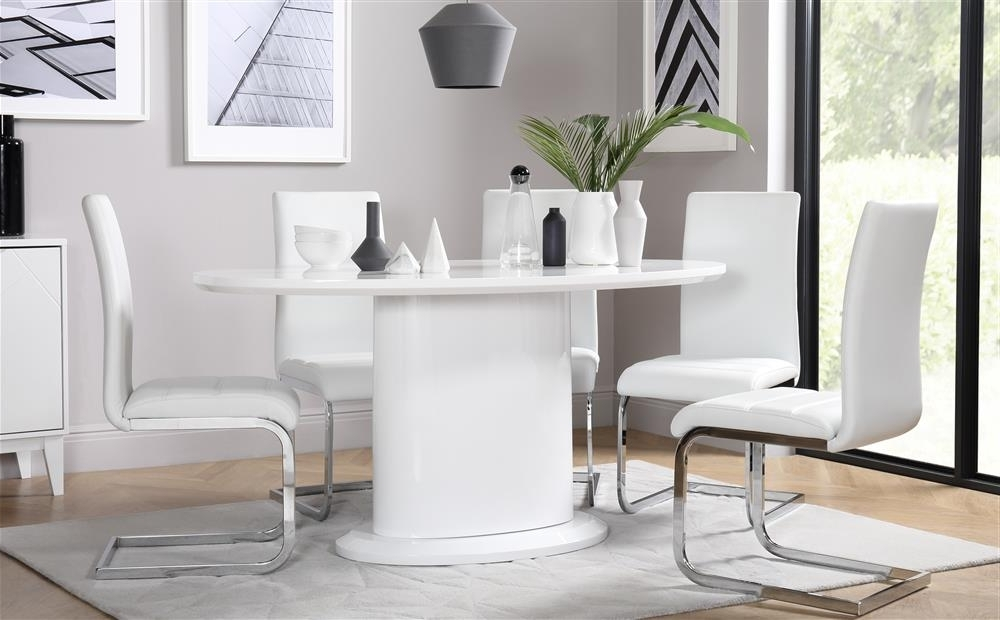Monaco & Perth White High Gloss Oval Dining Table & 4 6 Leather With Regard To Well Known Perth White Dining Chairs (View 7 of 20)