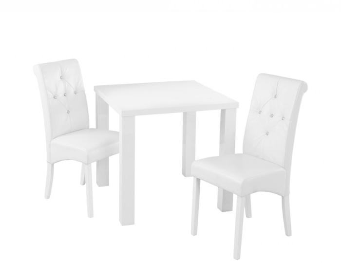 Monroe White High Gloss Small Dining Table And Chairs Regarding Most Recent High Gloss Dining Tables Sets (View 10 of 20)