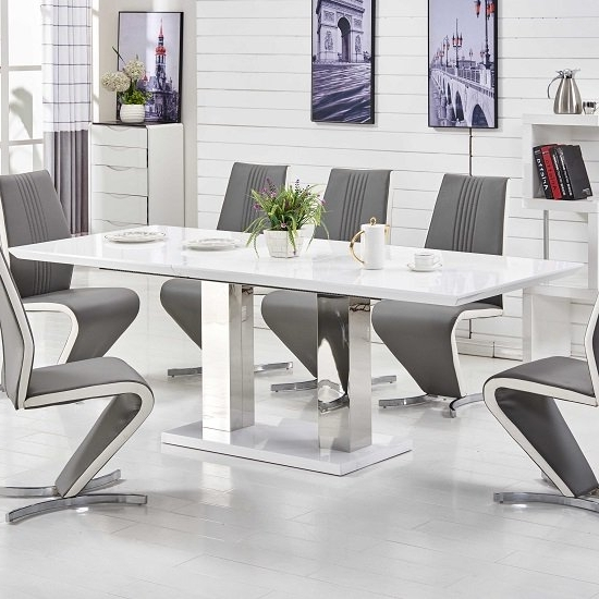 Monton Extendable Dining Table Large In White High Gloss Inside Well Liked Large White Gloss Dining Tables (View 11 of 20)