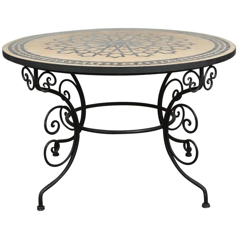 Mosaic Dining Tables For Sale With Regard To Favorite Moroccan Outdoor Round Mosaic Tile Dining Table On Iron Base 47 In (View 5 of 20)