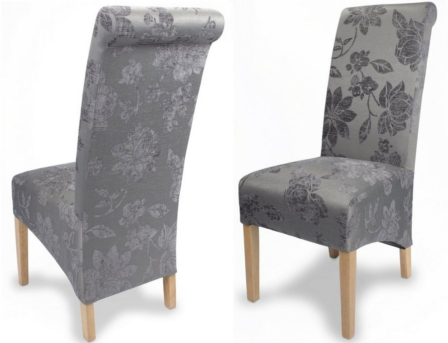 Most Current Abdabs Furniture – Fleur Antique Grey Fabric Dining Chairs – Pair With Fabric Dining Chairs (View 18 of 20)