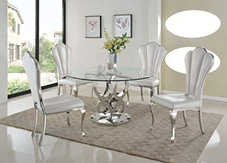 Most Current Amazon – Milan Remi 5Pc Remi Round Glass 5 Piece Dining Set With In Chandler 7 Piece Extension Dining Sets With Fabric Side Chairs (View 7 of 20)