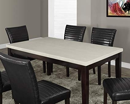 Most Current Amazon – Monarch Specialties Cream Lacquered Marble Look Dining For Cream Lacquer Dining Tables (View 13 of 20)