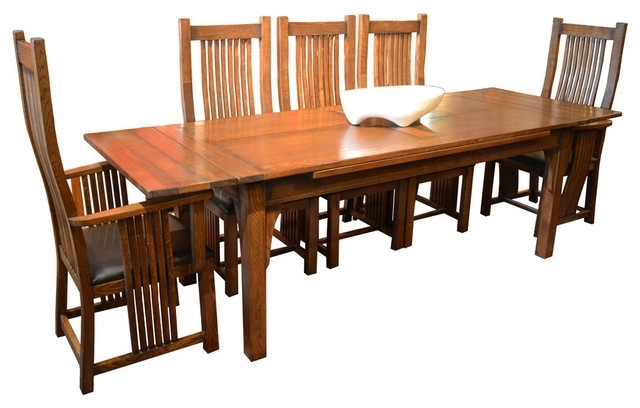 Most Current Arts And Crafts Oak Dining Table With 2 Leaves, 8 High Back Chairs With Regard To Craftsman 7 Piece Rectangular Extension Dining Sets With Arm & Uph Side Chairs (View 11 of 20)