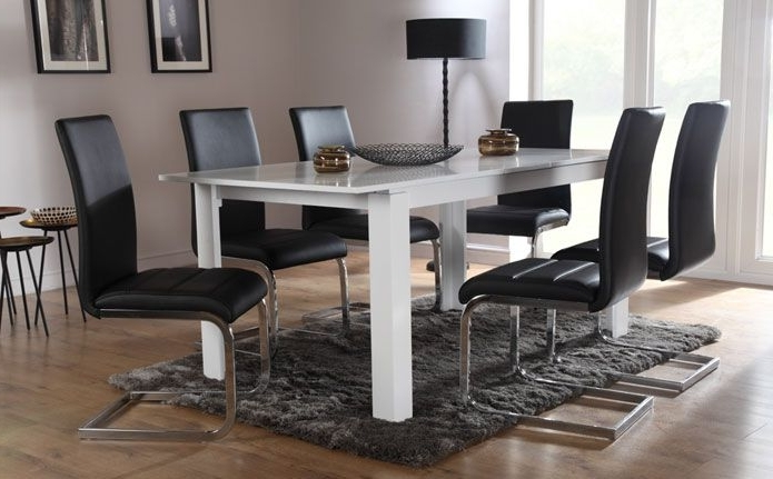 Most Current Aspen & Perth White Extending Dining Set (Black) (View 8 of 20)