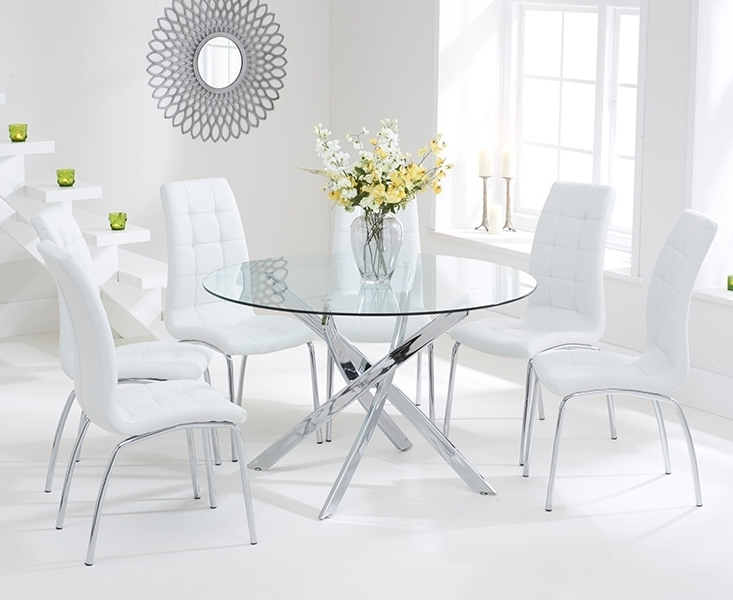 Most Current Bari Glass 120cm Round Dining Set With 4 Forli White Chairs Regarding Glass Dining Tables White Chairs (View 6 of 20)