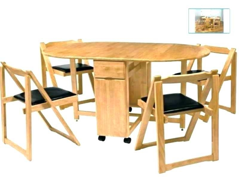Most Current Black Folding Dining Tables And Chairs Within Extraordinary Folding Dining Table With Chair Storage Dining Table (View 16 of 20)