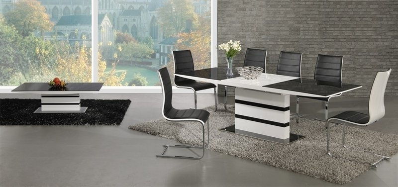 Most Current Black Glass White High Gloss Extending Dining Table And 8 Chairs Set For Extending Glass Dining Tables And 8 Chairs (View 13 of 20)