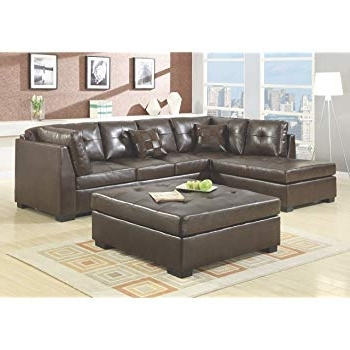 Most Current Burton Leather 3 Piece Sectionals With Ottoman In Amazon: Winpex 3 Piece Faux Leather Sectional Sofa Set With Free (View 10 of 15)