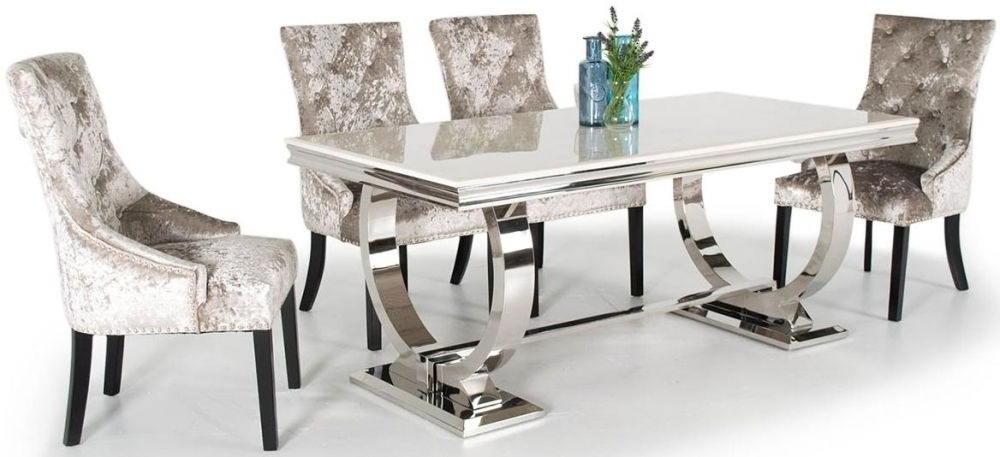 Most Current Buy Vida Living Arianna Cream Marble Rectangular Fixed Top With With Regard To Marble Dining Chairs (View 13 of 20)