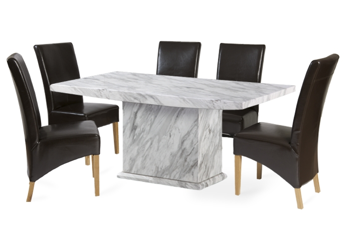 Most Current Calacatta 160Cm Marble Effect Dining Table With 4 Cannes Brown In Marble Effect Dining Tables And Chairs (View 5 of 20)