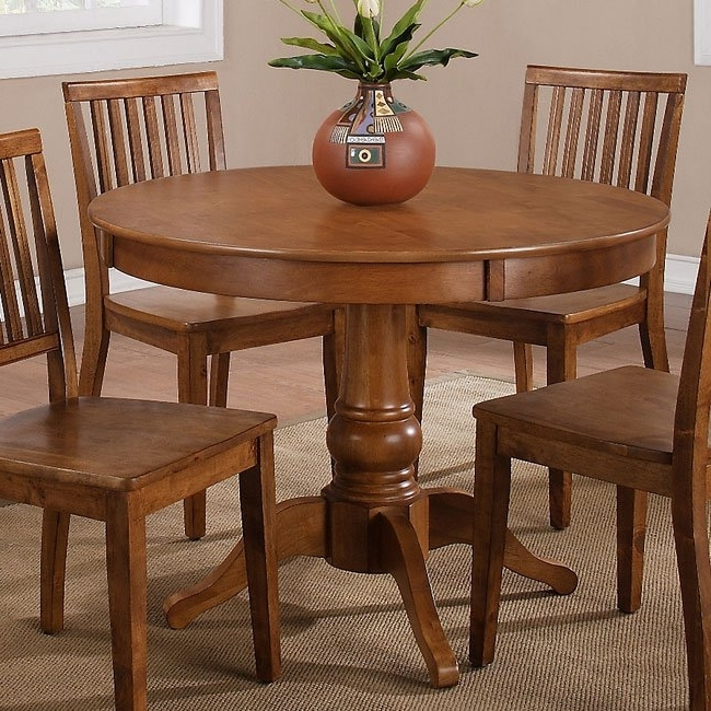 Most Current Candice Round Dining Table (Oak) Steve Silver Furniture (View 4 of 20)