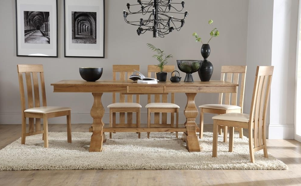Most Current Cavendish Oak Extending Dining Table With 6 Chester Chairs (Ivory Regarding Oak Extending Dining Tables Sets (View 8 of 20)